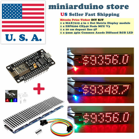 Arduino Bitcoin Crypto Coin Price Ticker LED Dot Matrix Display Wi-Fi ESP8266 - arduino - Coins & Paper Money:Virtual Currency:Miners