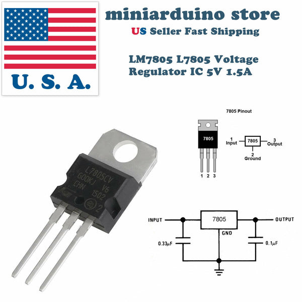 10 x LM7805 L7805 7805 IC Positive Voltage Regulator 5V 1.5A TO-220 USA - arduino - Business & Industrial:Electrical Equipment & Supplies:Electronic Components & Semiconductors:Semiconductors & Actives:Power Regulators & Converters