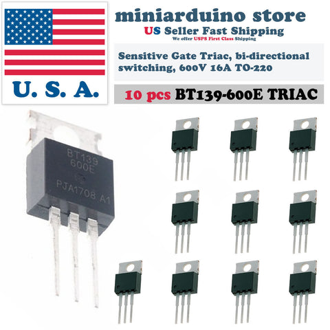 10pcs BT139-600E BT139 Triac 600V Sensitive Gate bi-directional switching 16A US - arduino - Business & Industrial:Electrical Equipment & Supplies:Electronic Components & Semiconductors:Semiconductors & Actives:Thyristors & SCRs