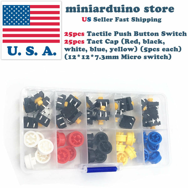 25pcs Tactile Push Button Switch Momentary Micro switch button + 25pcs Tact Caps - arduino - Business & Industrial:Electrical Equipment & Supplies:Switches:Pushbutton Switches