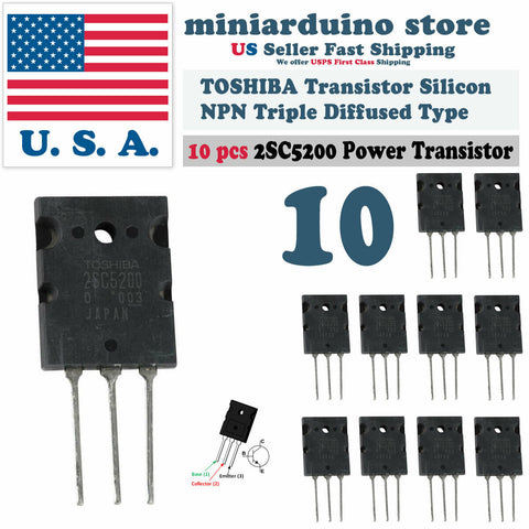 10pcs 2SC5200 Power TOSHIBA Transistor Silicon NPN Triple Diffused Type - arduino - Business & Industrial:Electrical Equipment & Supplies:Electronic Components & Semiconductors:Semiconductors & Actives:Transistors
