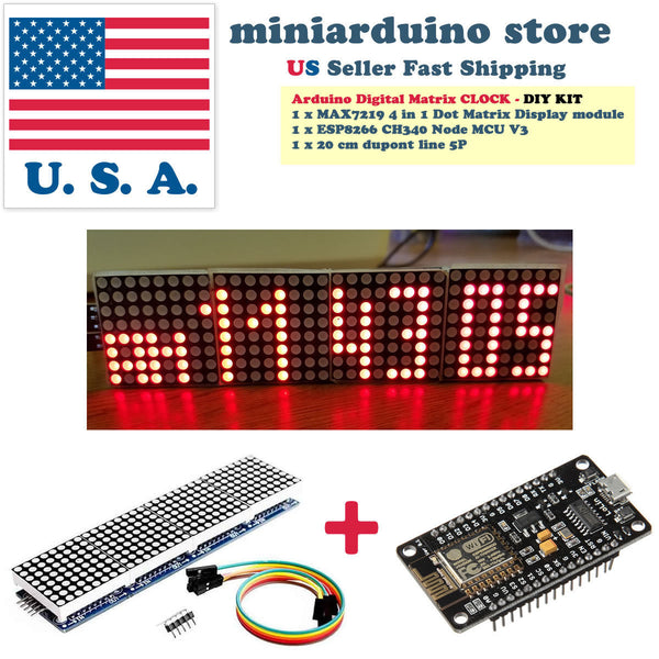 Arduino Digital WIFI LED Dot Matrix Clock ESP8266 MAX7219 with weather DIY USA - arduino - Consumer Electronics:Other Consumer Electronics