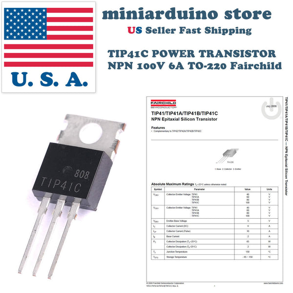 10 x TIP41C POWER TRANSISTOR PNP 100V 6A TO-220 Fairchild TIP41 - arduino - Business & Industrial:Electrical Equipment & Supplies:Electronic Components & Semiconductors:Semiconductors & Actives:Transistors