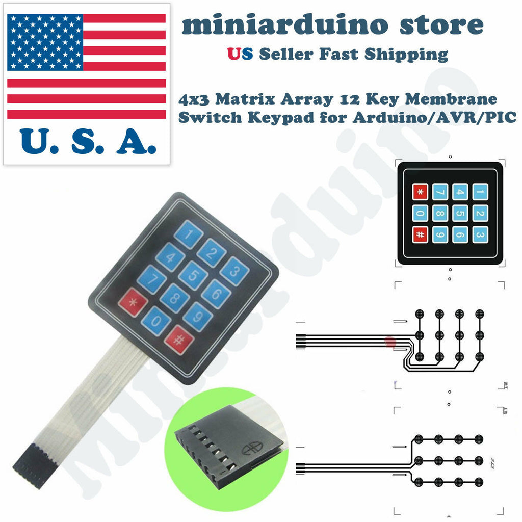 5pcs Keypad 4 x 3 Matrix Array 12 Key Arduino Membrane Switch  Keyboard module - arduino - Business & Industrial:Electrical Equipment & Supplies:Other Electrical Equipment & Supplies