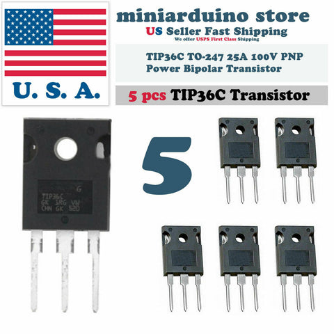 5pcs TIP36C TIP36 Power Transistor 25A 100V PNP bipolar - arduino - Business & Industrial:Electrical Equipment & Supplies:Electronic Components & Semiconductors:Semiconductors & Actives:Transistors