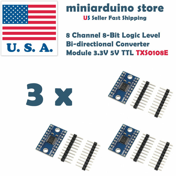 3PCS 8 Channel 8-Bit Logic Level Bi-directional Converter Module TXS0108E 3v3 5v - arduino - Business & Industrial:Electrical Equipment & Supplies:Electronic Components & Semiconductors:Other Electronic Components