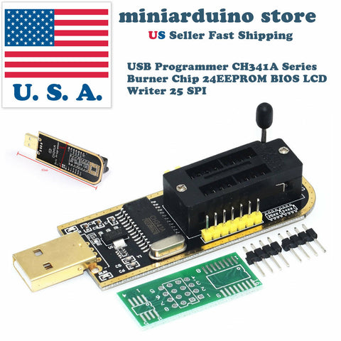 USB Programmer CH341A LCD Burner Chip 24 EEPROM BIOS Writer 25 SPI Flash TE839 - arduino - Business & Industrial:Electrical Equipment & Supplies:Electronic Components & Semiconductors:Semiconductors & Actives:Integrated Circuits (ICs):Microcontrollers & Programmers