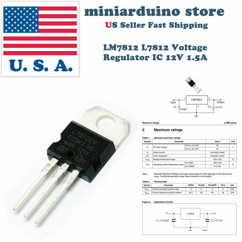 10 x LM7812 L7812 7812 L7812CV 78012 Positive Voltage Regulator 12V 1.5A  TO-220 - arduino - Business & Industrial:Electrical Equipment & Supplies:Electronic Components & Semiconductors:Semiconductors & Actives:Power Regulators & Converters