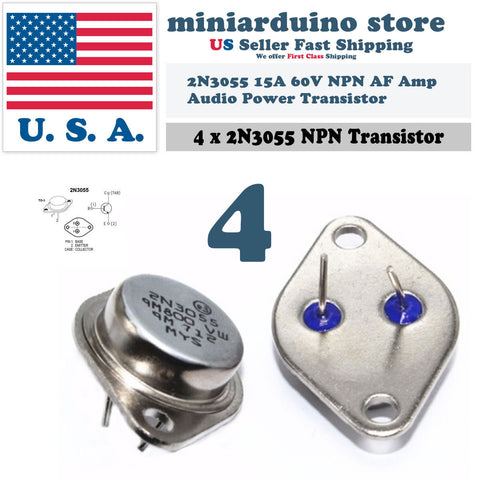 4pcs 2N3055 NPN AF Amp Audio Power Transistor 15A/60V Bipolar - arduino - Business & Industrial:Electrical Equipment & Supplies:Electronic Components & Semiconductors:Semiconductors & Actives:Transistors