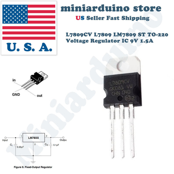 5PCS L7809CV L7809 LM7809 ST TO-220 Voltage Regulator IC 9V 1.5A - arduino - Business & Industrial:Electrical Equipment & Supplies:Electronic Components & Semiconductors:Semiconductors & Actives:Power Regulators & Converters