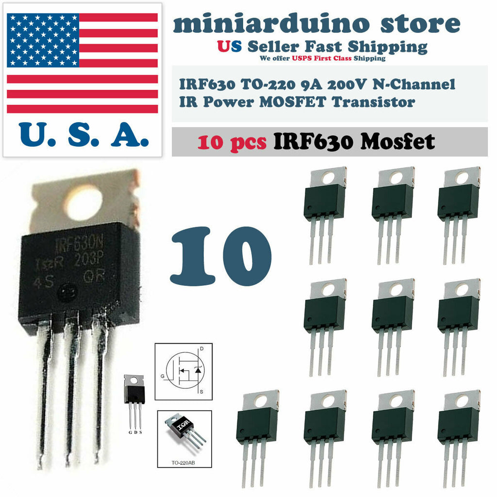 10pcs IRF630 IRF630N Power MOSFET 9A 200V TO-220 IR Transistor - arduino - Business & Industrial:Electrical Equipment & Supplies:Electronic Components & Semiconductors:Semiconductors & Actives:Transistors