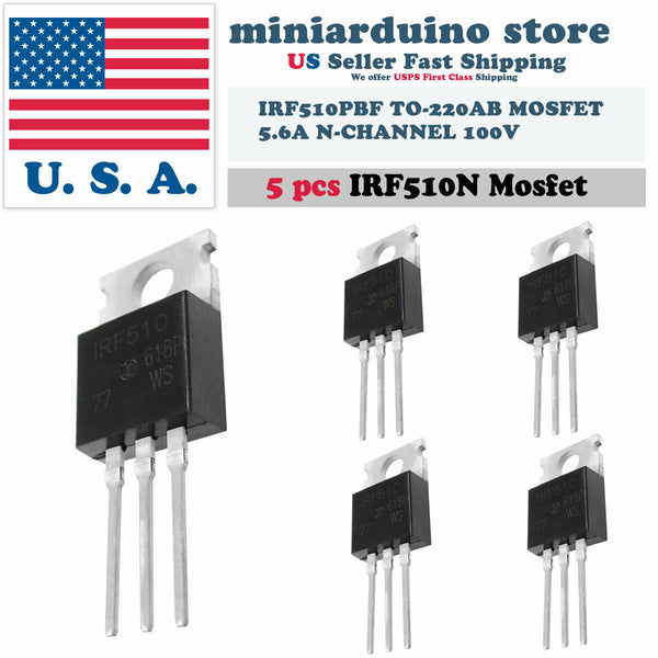 5 x IRF510N IRF510 Power MOSFET N-Channel Transistor 5.6A 100V IRF510PBF TO-220A - arduino - Business & Industrial:Electrical Equipment & Supplies:Electronic Components & Semiconductors:Semiconductors & Actives:Transistors