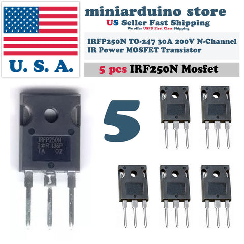 5pcs IRFP250N IRFP250 Power MOSFET N-Channel Transistor 30A 200V TO-247 - arduino - Business & Industrial:Electrical Equipment & Supplies:Electronic Components & Semiconductors:Semiconductors & Actives:Transistors