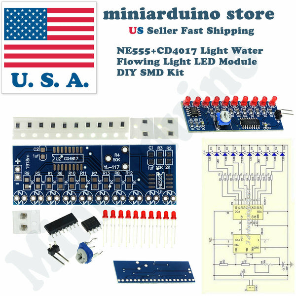 DIY NE555 + CD4017 Light Water Flowing Light LED Fully not soldered module smd - arduino - Consumer Electronics:Other Consumer Electronics