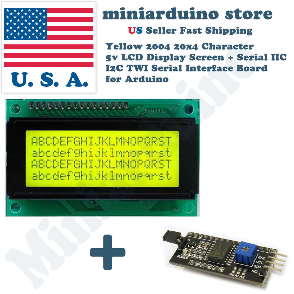 Yellow Serial IIC I2C TWI 2004 20x4 Character LCD Module Display Screen Arduino - arduino - Business & Industrial:Electrical Equipment & Supplies:Electronic Components & Semiconductors:LEDs, LCDs & Display Modules:LCD Display Modules