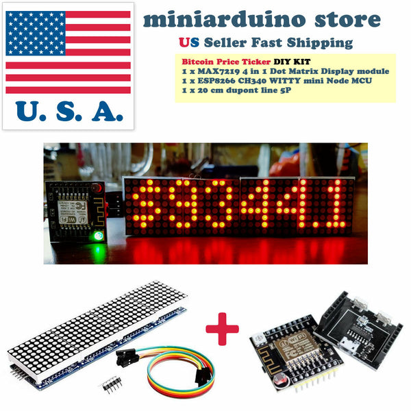 Arduino Bitcoin Crypto Coin Price Ticker LED Dot Matrix Display Wi-Fi WITTY - arduino - Coins & Paper Money:Virtual Currency:Miners