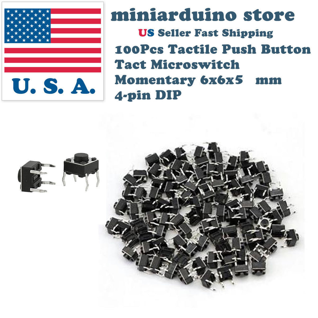 100Pcs 6x6x5mm PCB Momentary Tactile Tact Push Button Switch 4 Pin DIP Micro - arduino - Business & Industrial:Electrical Equipment & Supplies:Switches:Pushbutton Switches