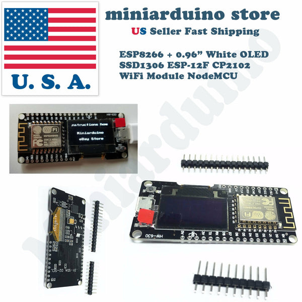 "NODEMCU Wifi ESP8266 ESP-12F Wemos Development Board + 0.96"" White OLED CP2102 - arduino - Business & Industrial:Electrical Equipment & Supplies:Electronic Components & Semiconductors:Semiconductors & Actives:Development Kits & Boards"