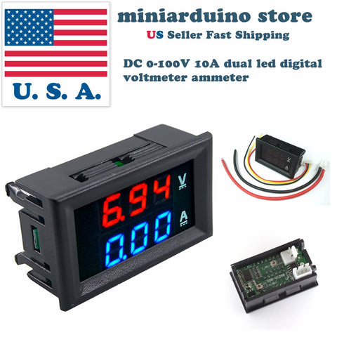 1pcs DC 0-100V 10A  Voltmeter Ammeter Blue + Red LED Amp Dual Digital DSN-VC288 - arduino - Business & Industrial:Test, Measurement & Inspection:Test Meters & Detectors:Panel Meters