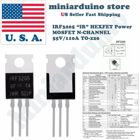 20pcs IRF3205 IR MOSFET N-CHANNEL 55V/110A TO-220 HEXFET Power Transistor IRF - arduino - Business & Industrial:Electrical Equipment & Supplies:Electronic Components & Semiconductors:Semiconductors & Actives:Transistors