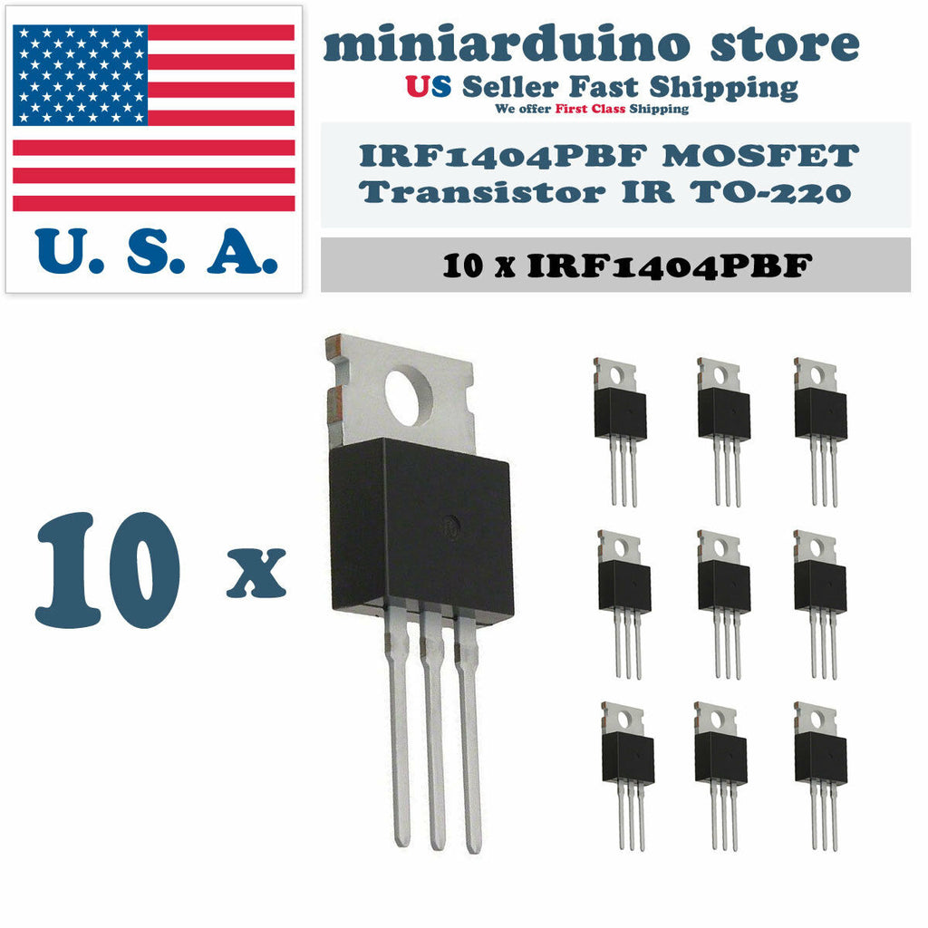 10pcs IRF1404PBF MOSFET Power Transistor IR TO-220 IRF1404 - arduino - Business & Industrial:Electrical Equipment & Supplies:Electronic Components & Semiconductors:Semiconductors & Actives:Transistors