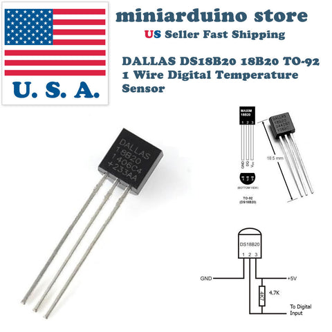 5pcs DALLAS DS18B20 18B20 TO-92 1 Wire Digital Temperature Sensor - arduino - Business & Industrial:Electrical Equipment & Supplies:Electronic Components & Semiconductors:Semiconductors & Actives:Integrated Circuits (ICs):Sensor ICs