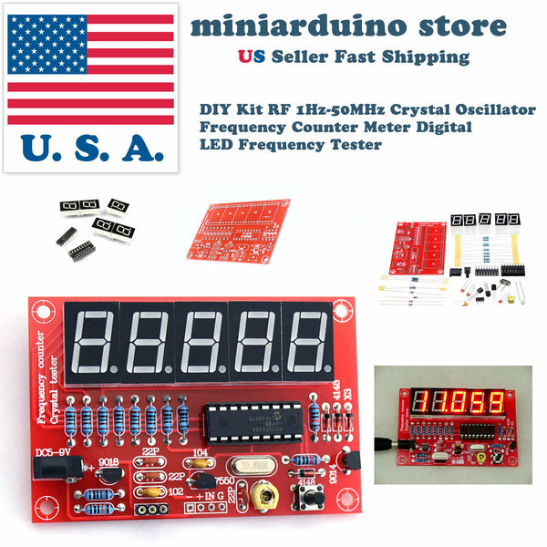 DIY Kit RF 1Hz-50MHz Crystal Oscillator Frequency Counter Meter Digital LED USA - arduino - Business & Industrial:Test, Measurement & Inspection:Test Meters & Detectors:Panel Meters