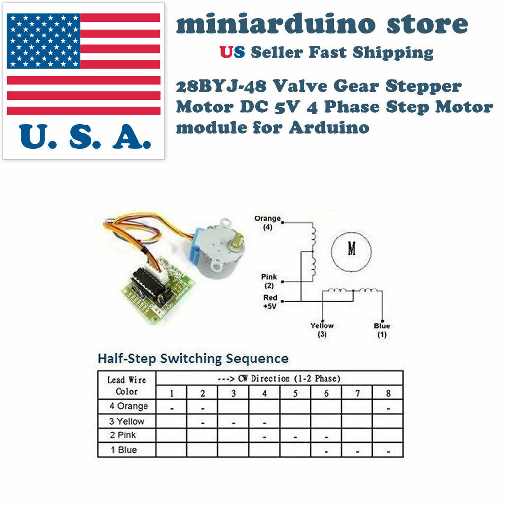 2pcs 28BYJ-48 Valve Gear Stepper Motor DC 5V 4 Phase Step Motor module Arduino - arduino - Business & Industrial:Automation, Motors & Drives:Drives & Starters:Drives & Motor Controls:Stepper Controls & Drives