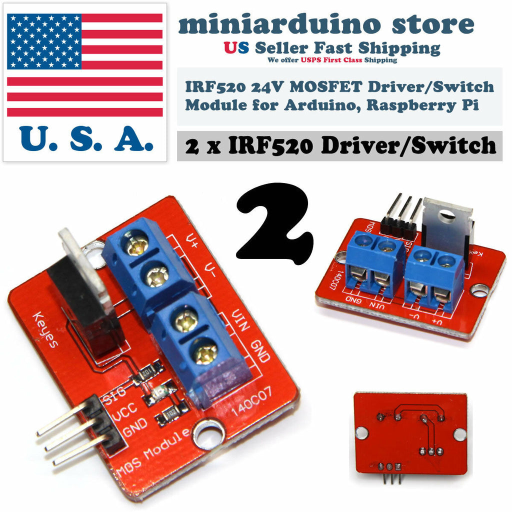 2Pcs IRF520 24V MOSFET Driver Module IRF520N Raspberry Pi Arduino ARM Transistor - arduino - Business & Industrial:Electrical Equipment & Supplies:Electronic Components & Semiconductors:Semiconductors & Actives:Transistors