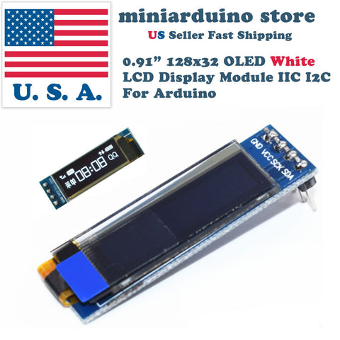 0.91'' 128x32 IIC I2C White OLED Display Module DC3.3V 5V 128*32 Arduino - arduino - Business & Industrial:Electrical Equipment & Supplies:Electronic Components & Semiconductors:LEDs, LCDs & Display Modules:LCD Display Modules