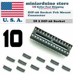 10Pcs 28Pin Dip DIP-28 Socket Pcb Mount Connector IC - arduino - Business & Industrial:Electrical Equipment & Supplies:Wire & Cable Connectors:IC Sockets