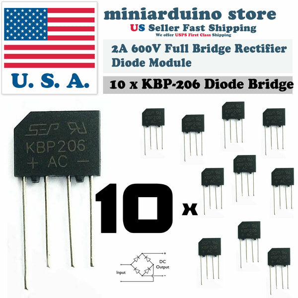 10PCS KBP206 Generic Diode Full Bridge Rectifier 2A 600V 4PIN - arduino - Business & Industrial:Electrical Equipment & Supplies:Electronic Components & Semiconductors:Semiconductors & Actives:Diodes:Bridge Rectifier Modules