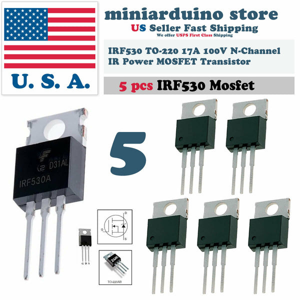 "5pcs IRF530 ""IR"" Power MOSFET N-Channel 17A 100V Transistor - arduino - Business & Industrial:Electrical Equipment & Supplies:Electronic Components & Semiconductors:Semiconductors & Actives:Transistors"