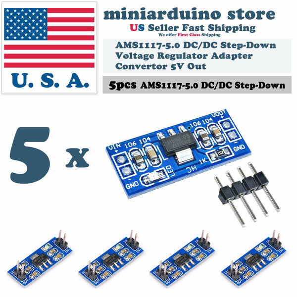 5pcs AMS1117-5.0 5.0V Step-Down Linear Voltage Regulator Module 6-12V in 5V out - arduino - Business & Industrial:Electrical Equipment & Supplies:Electronic Components & Semiconductors:Semiconductors & Actives:Power Regulators & Converters