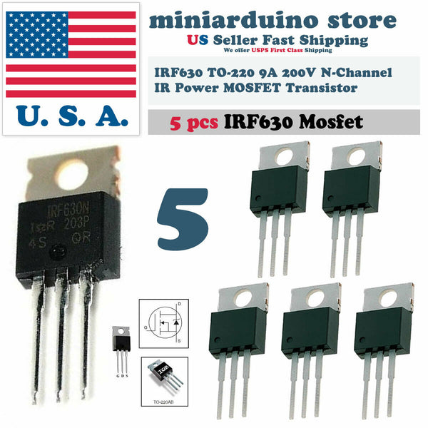 5pcs IRF630 IRF630N Power MOSFET 9A 200V TO-220 IR Transistor - arduino - Business & Industrial:Electrical Equipment & Supplies:Electronic Components & Semiconductors:Semiconductors & Actives:Transistors