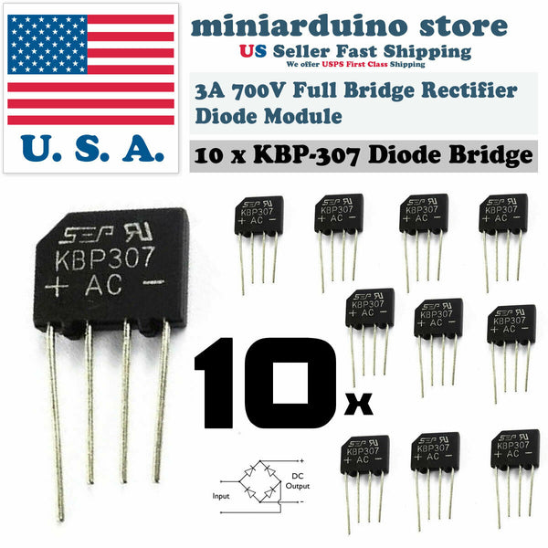 10PCS KBP307 Generic Diode Full Bridge Rectifier 3A 700V 4PIN - arduino - Business & Industrial:Electrical Equipment & Supplies:Electronic Components & Semiconductors:Semiconductors & Actives:Diodes:Bridge Rectifier Modules