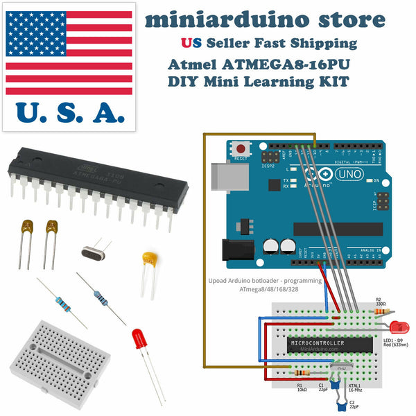 ATmega8-16pu DIY arduino Mini Learning Kit 22pF 100nF 16MHz crystal breadboard - arduino - Business & Industrial:Electrical Equipment & Supplies:Electronic Components & Semiconductors:Semiconductors & Actives:Integrated Circuits (ICs):Other Integrated Circuits