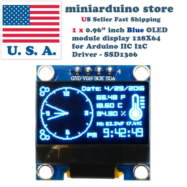 "0.96"" I2C IIC 128X64 LED OLED LCD  Display Module for Arduino Blue Color SSD1306 - arduino - Business & Industrial:Electrical Equipment & Supplies:Electronic Components & Semiconductors:LEDs, LCDs & Display Modules:LCD Display Modules"
