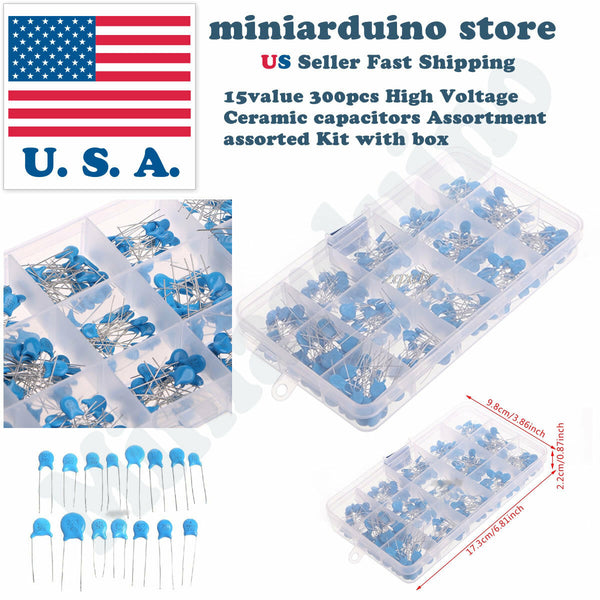 15value 300pcs High Voltage Ceramic capacitors Assortment assorted Kit with box - arduino - Business & Industrial:Electrical Equipment & Supplies:Electronic Components & Semiconductors:Capacitors