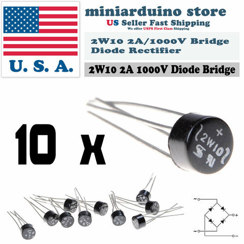 10pcs 2W10 2A 1000V Diode Bridge Rectifier Round 4 pin Single Phase New - arduino - Business & Industrial:Electrical Equipment & Supplies:Electronic Components & Semiconductors:Semiconductors & Actives:Diodes:Bridge Rectifier Modules