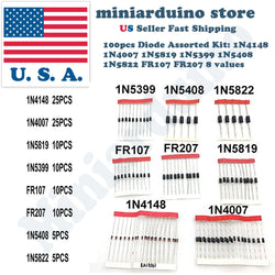 Rectifier Diode Kit 100pcs 8 values 1N4148 1N4007 1N5819 1N5399 1N5408 1N5822 - arduino - Business & Industrial:Electrical Equipment & Supplies:Electronic Components & Semiconductors:Semiconductors & Actives:Diodes:Other Diodes