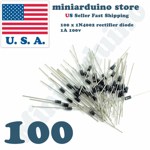 100pcs 1N4002 IN4002 1A 100V Rectifier Diode USA SELLER Fast Shipping 4002 - arduino - Business & Industrial:Electrical Equipment & Supplies:Electronic Components & Semiconductors:Semiconductors & Actives:Diodes:Other Diodes