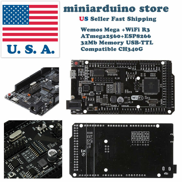 WeMOS Mega + WiFi R3 ATmega2560 + ESP8266 USB-TTL For Arduino Mega NodeMCU - arduino - Business & Industrial:Electrical Equipment & Supplies:Electronic Components & Semiconductors:Semiconductors & Actives:Development Kits & Boards