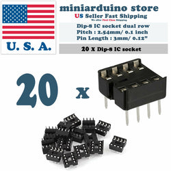 20pcs Dip-8 IC Socket Solder Type Double Row 8PIN DIP Integrated Circuit - arduino - Business & Industrial:Electrical Equipment & Supplies:Wire & Cable Connectors:IC Sockets
