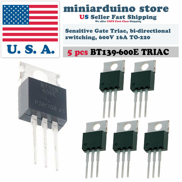 5pcs BT139-600E BT139 Triac 600V Sensitive Gate bi-directional switching 16A US - arduino - Business & Industrial:Electrical Equipment & Supplies:Electronic Components & Semiconductors:Semiconductors & Actives:Thyristors & SCRs