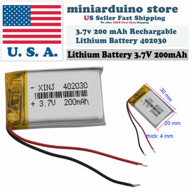 TP4056 + 3.7v 200 mAh Rechargeable Lithium Battery LiPo 402030 polymer DIY Micro - arduino - Consumer Electronics:Multipurpose Batteries & Power:Rechargeable Batteries
