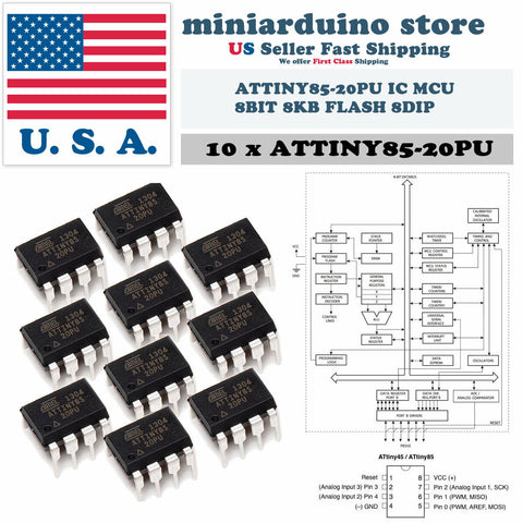10PCS Atmel Original ATTINY85-20PU IC MCU 8BIT 8KB FLASH 8DIP Top ATTINY85 - arduino - Business & Industrial:Electrical Equipment & Supplies:Electronic Components & Semiconductors:Semiconductors & Actives:Integrated Circuits (ICs):Other Integrated Circuits