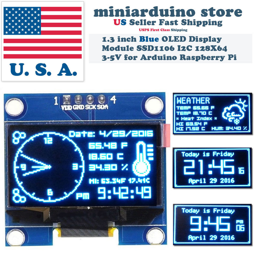 "1.3"" I2C IIC 128X64 OLED Display Module Arduino Blue Color SSD1106 US - arduino - Business & Industrial:Electrical Equipment & Supplies:Electronic Components & Semiconductors:LEDs, LCDs & Display Modules:LCD Display Modules"