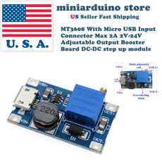 MT3608 MICRO USB DC-DC Voltage Step Up Adjustable Boost Converter Module 2A 2-24 - arduino - Business & Industrial:Electrical Equipment & Supplies:Electronic Components & Semiconductors:Semiconductors & Actives:Power Regulators & Converters