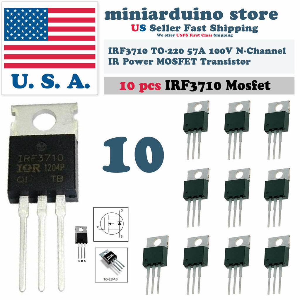 10pcs IRF3710 IRF 3710 N-MOSFET 57A 100V TO-220 IR Transistor N-Channel - arduino - Business & Industrial:Electrical Equipment & Supplies:Electronic Components & Semiconductors:Semiconductors & Actives:Transistors